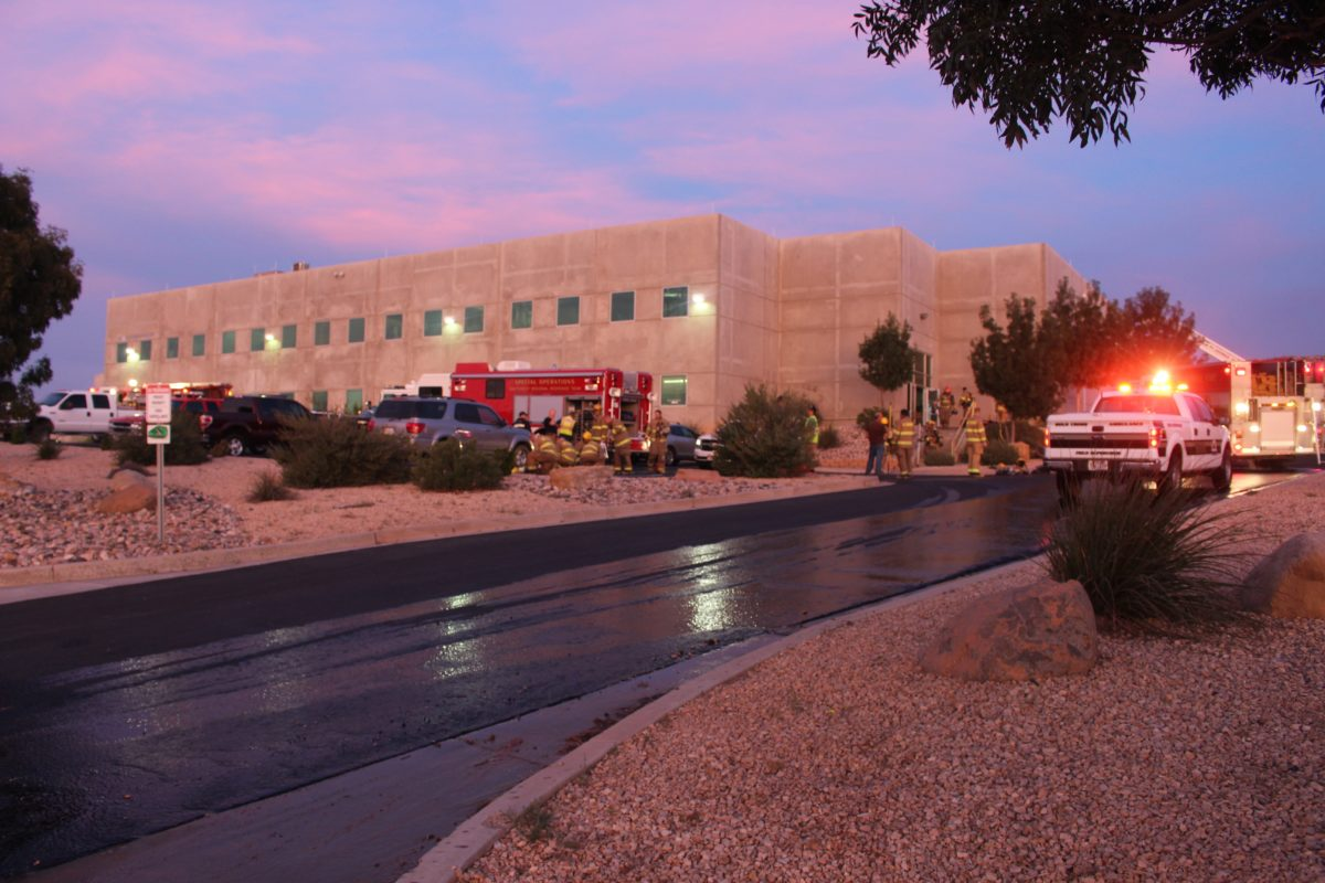 7 alarm structure fire reported early Friday morning at Milliken & Company, 961 E. Commerce Drive, St. George, Utah, Oct. 14, 2016 | Photo by Cody Blowers, St. George News