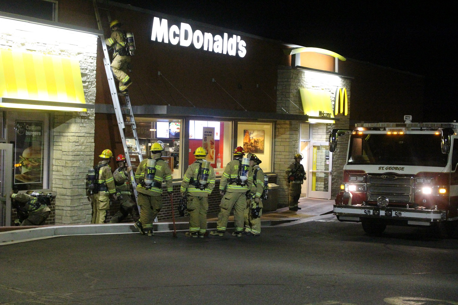 Firefighters respond to a reported structure fire at McDonald's after an employee calls 911 reporting smoke in the building Saturday, St. George, Utah, Oct. 1, 2016 | Photo by Cody Blowers, St. George News