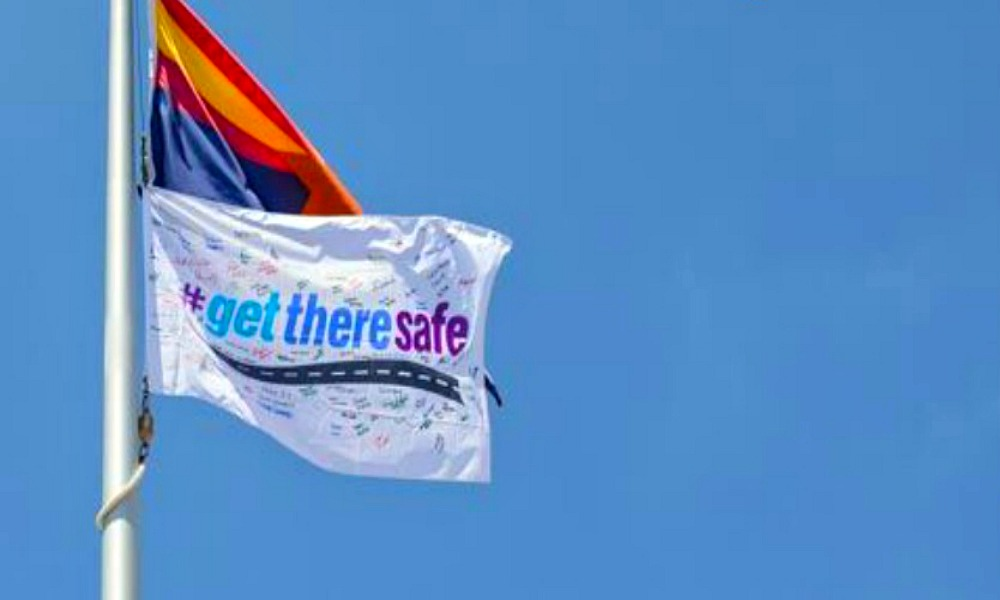 Allstate Foundation's #GetThereSafe flag for program launched at Pine View High School Friday. St. George, Utah, Oct. 21, 2016 | Photo courtesy of the Allstate foundation, St. George News