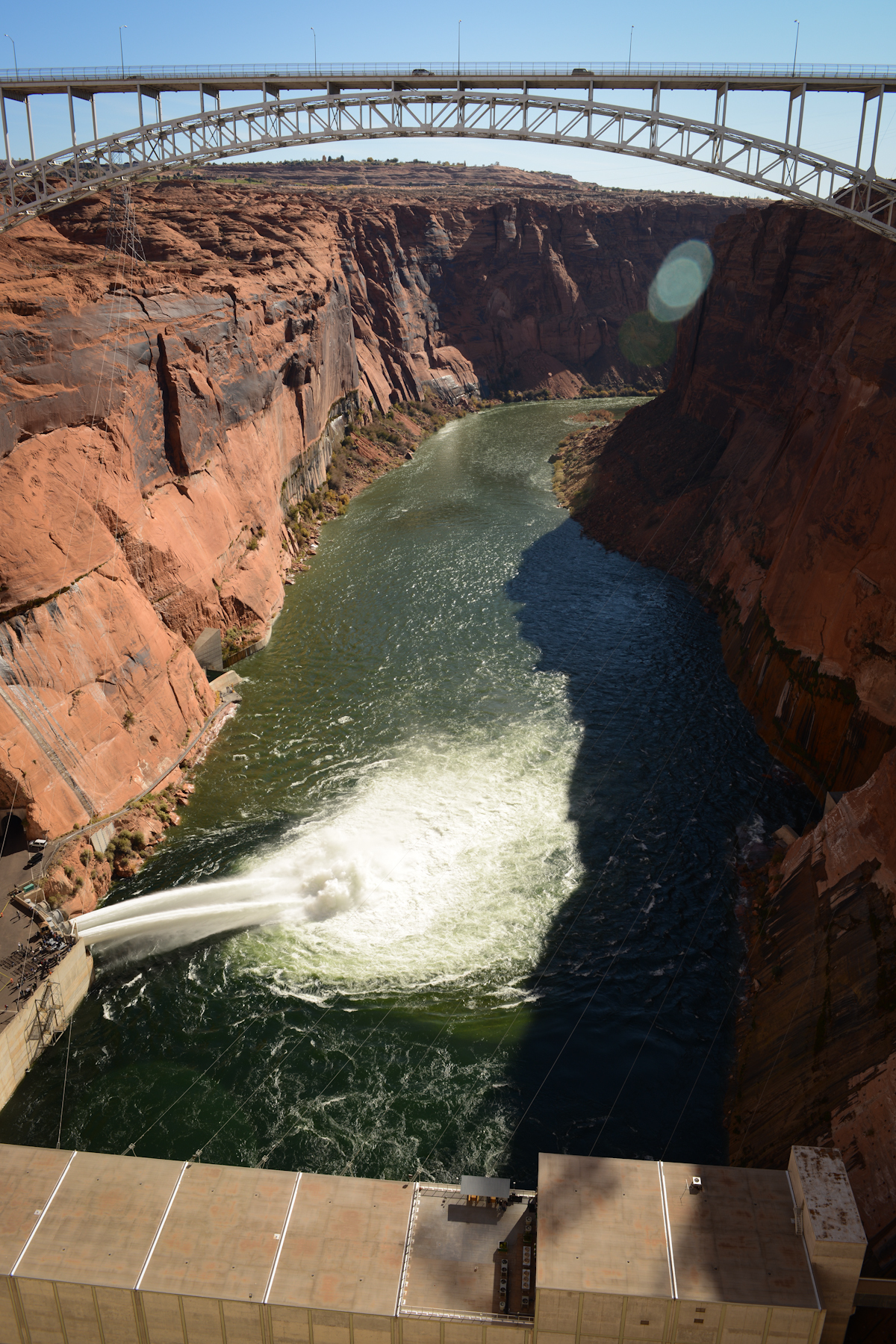 Water shoots from jet tubes during a high-flow experimental release, Glen Canyon Dam, Page, Ariz., photo undated | Image courtesy U.S. Bureau of Reclamation, St. George News