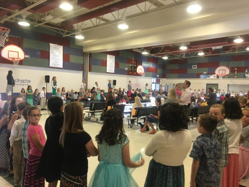 The Riverside Elementary Choir circles the cafeteria for a performance during Leadership Day held at the school in Washington City, Utah, Oct. 21, 2016 | Photo by Hollie Reina, St. George News