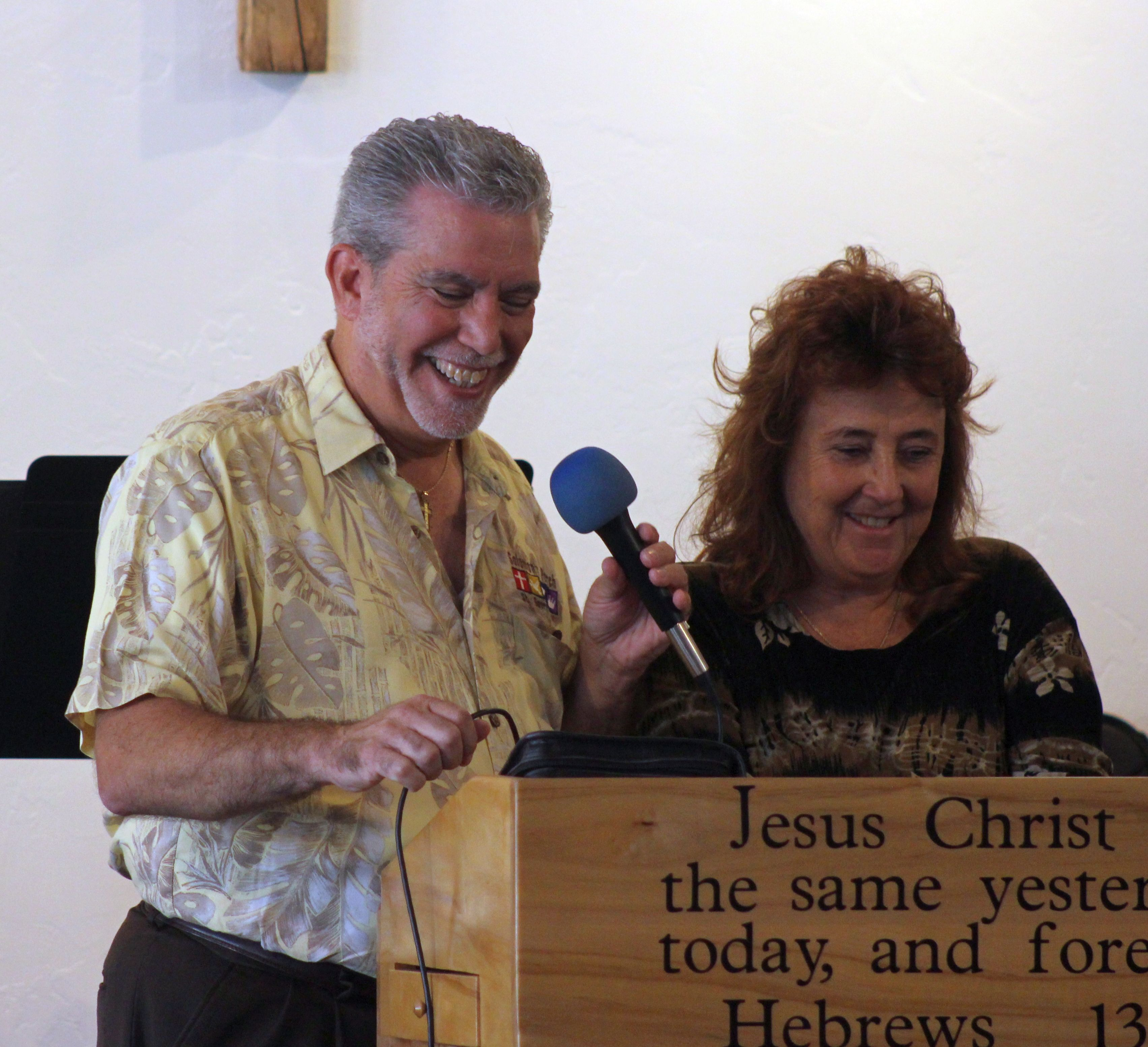 L-R Revs. Jimi and Rickene Kestin at the pulpit of SOlomon's Porch Foursquare Fellowship, St. George, Utah, Oct. 9, 2016 | Photo by Ric Wayman, St. George News