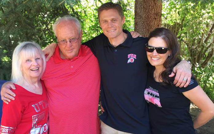 Brandon Jones and his wife Mitzi (on the right) with former Utah coach Ron McBride and his wife Vicki. | Photo courtesy Brandon Jones family