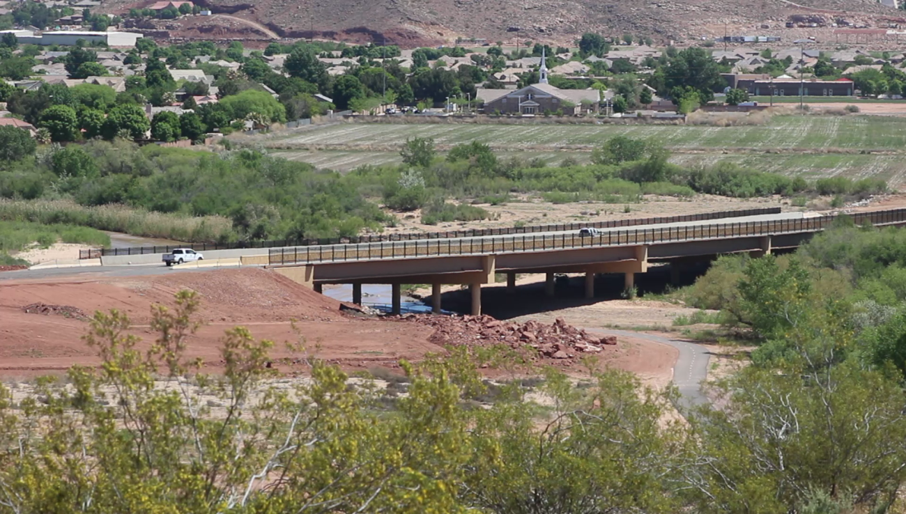 Mall Drive Bridge in St. George. Proposition 1, a ballot initiate that proposes a quarter-cent sales tax increase, would provide additional funding toward local road infrastructure and public transit in Washington County and its municipalities. Civic officials are in favor of the measure, while some residents do not wish to see a new tax of any sort pass, St. George, Utah, March 5, 2016 | Photo by Mori Kessler, St. George News