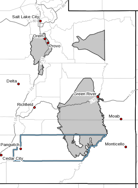Dots denote areas subject to hard freeze warning, radar time 4:40 p.m., Oct. 19, 2016 | Image courtesy of National Weather Service, St. George News