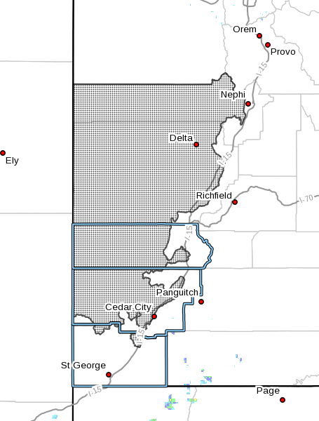 Shaded areas denote region subject to wind advisory for Sunday. Map generated Oct. 29, 2016, at 3:57 p.m. MDT | Image courtesy of National Weather Service, St. George News
