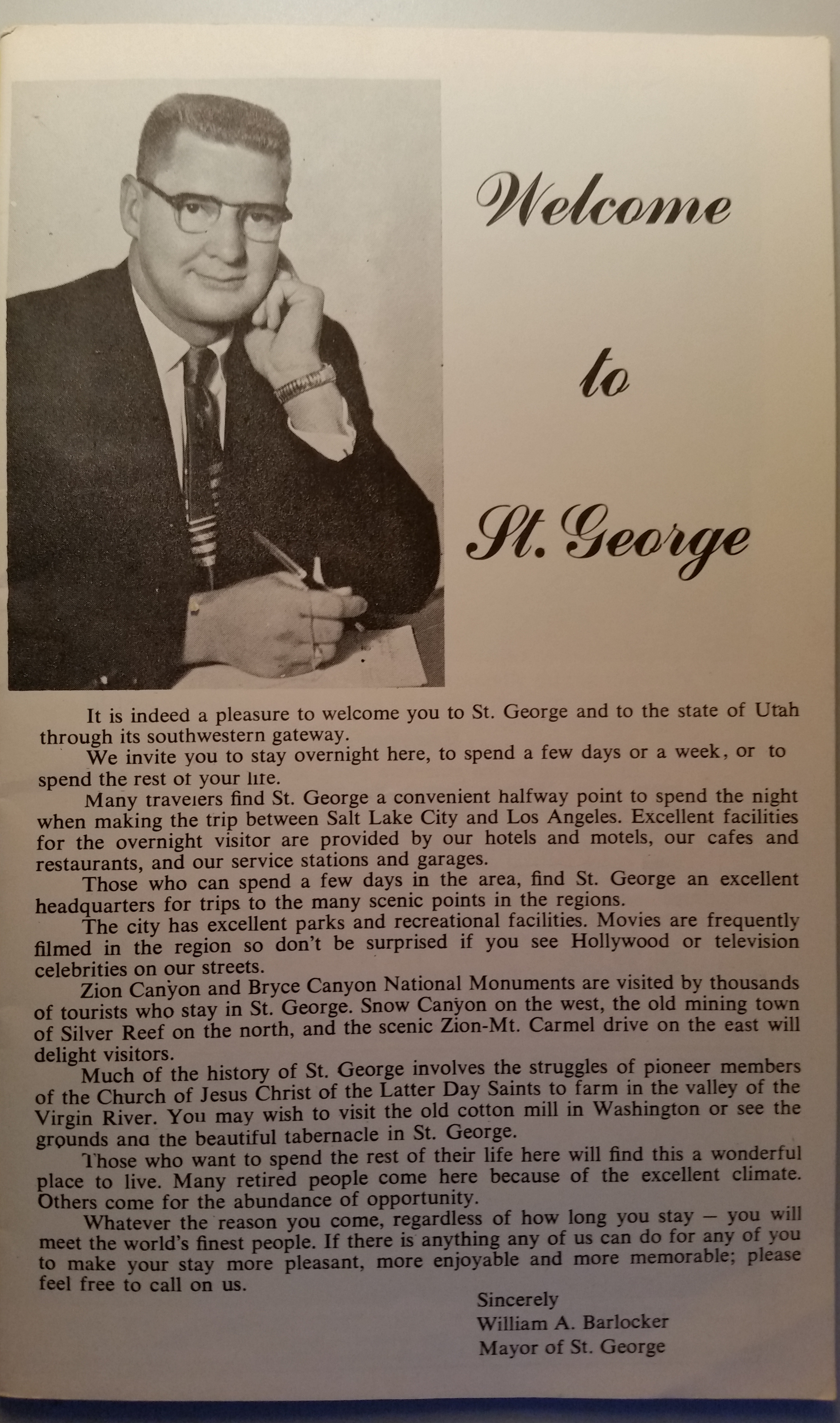 A message from St. George Mayor Bill Barlocker in a St. George City Chamber of Commerce publication, circa 1959-1960 | Photo courtesy of Susan Crook, St. George News