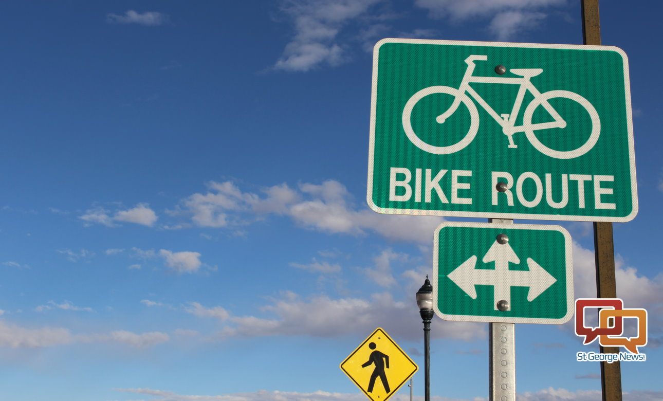 A sign marking one of St. George's many bicycling routes, St. George, Utah, Nov. 24, 2015   Photo by Mori Kessler, St. George News