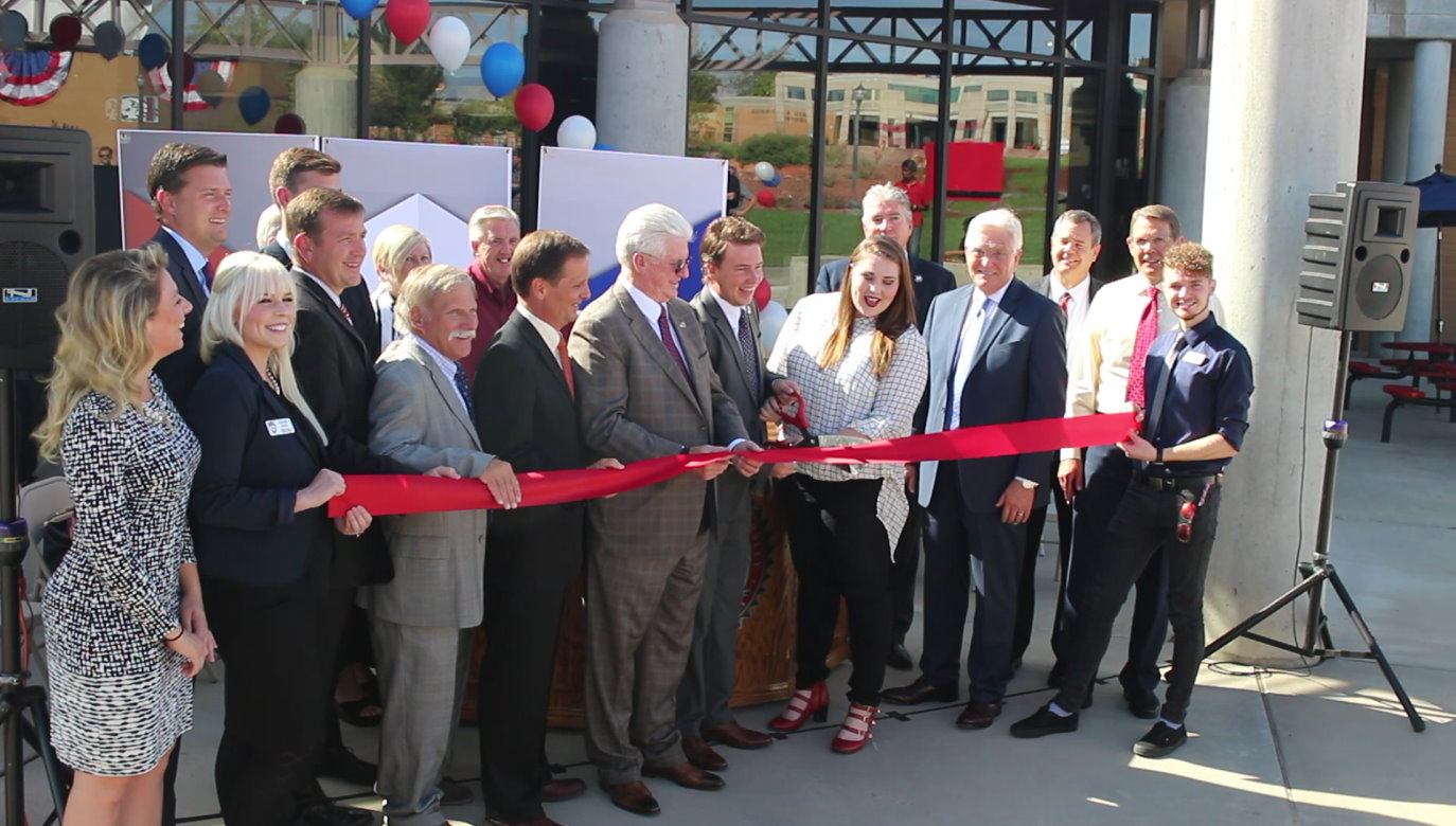 Cutting the ribbon to celebrate the opening of the Dixie State University's new Institute of Politics and Public Affairs, St. George, Utah, Oct. 26, 2016 | Photo by Mori Kessler, St. George News