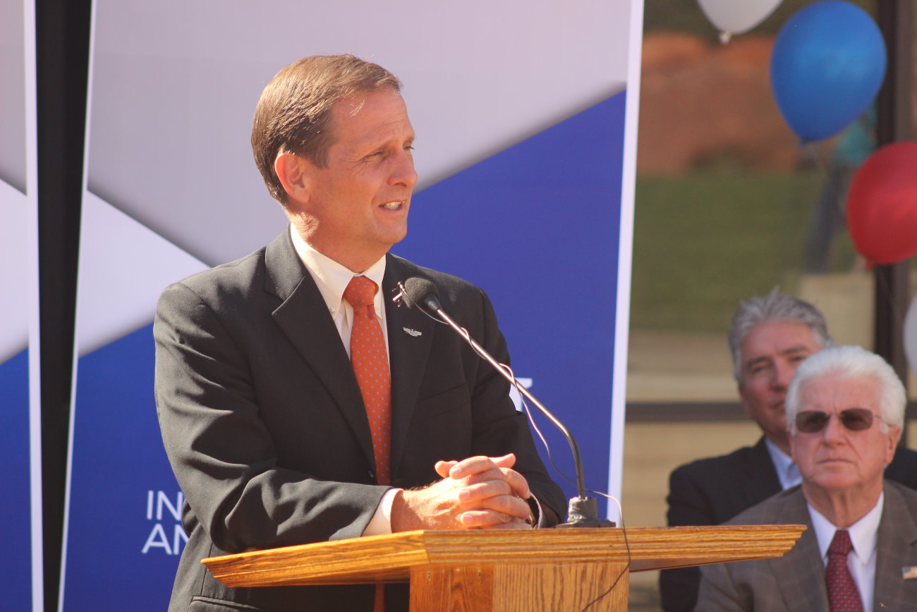 Rep. Chris Stewart, R-Utah, speaks at the speaks at the ribbon-cutting ceremony celebrating the official opening of Dixie State University's Institute of Politics and Public Affairs, St. George, Utah, Oct. 26, 2016 | Photo by Mori Kessler, St. George News