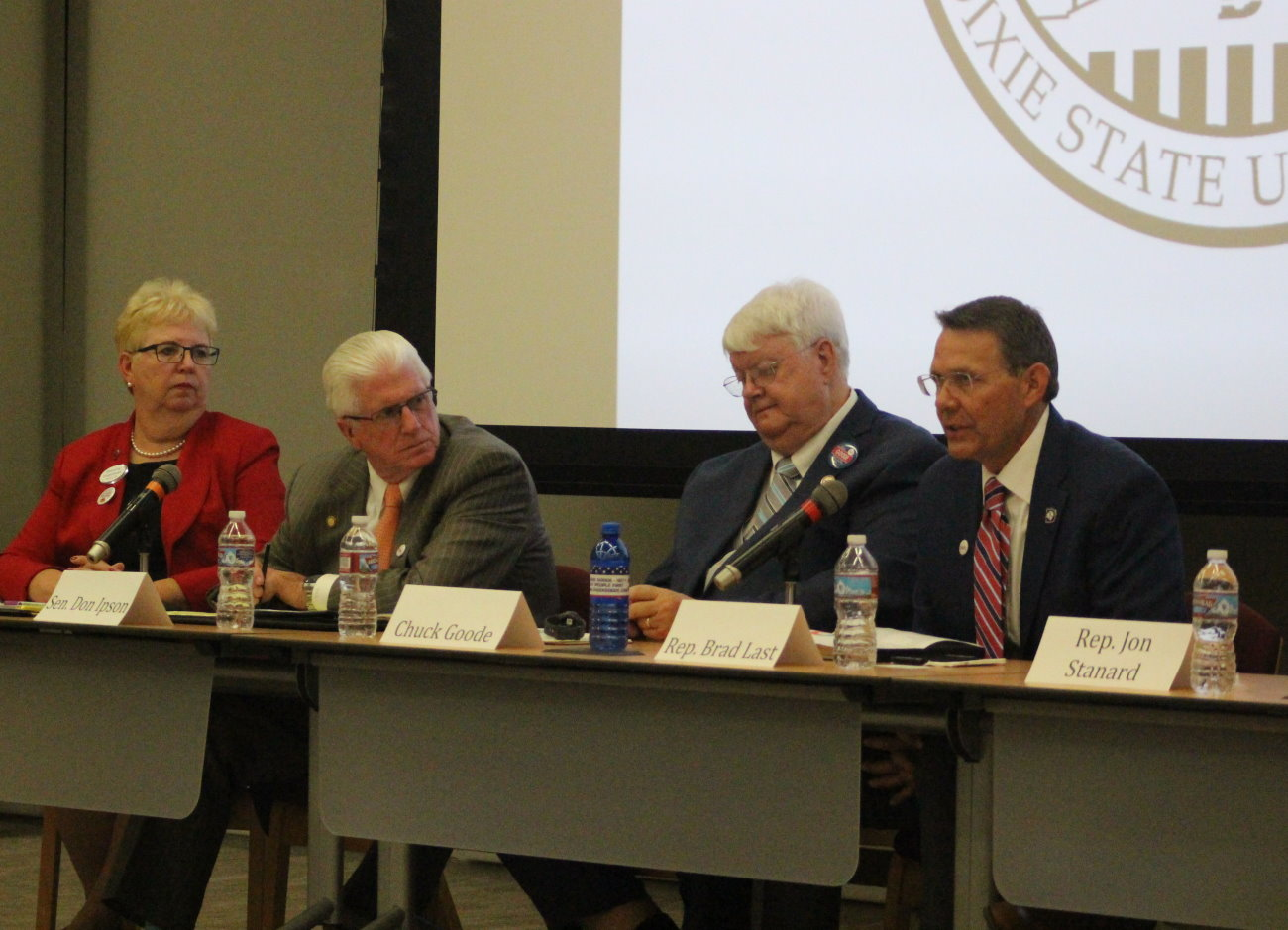 L-R: Legislative candidates Dorothy Engelman, Sen. Don Ipson, Chuck Goode and Rep. Brad Last, and southwest Utah legislative candidates discussed issues facing the state and Washington County at a forum hosted at Dixie State University, St. George, Utah, Oct. 5, 2016 | Photo by Mori Kessler, St. George News