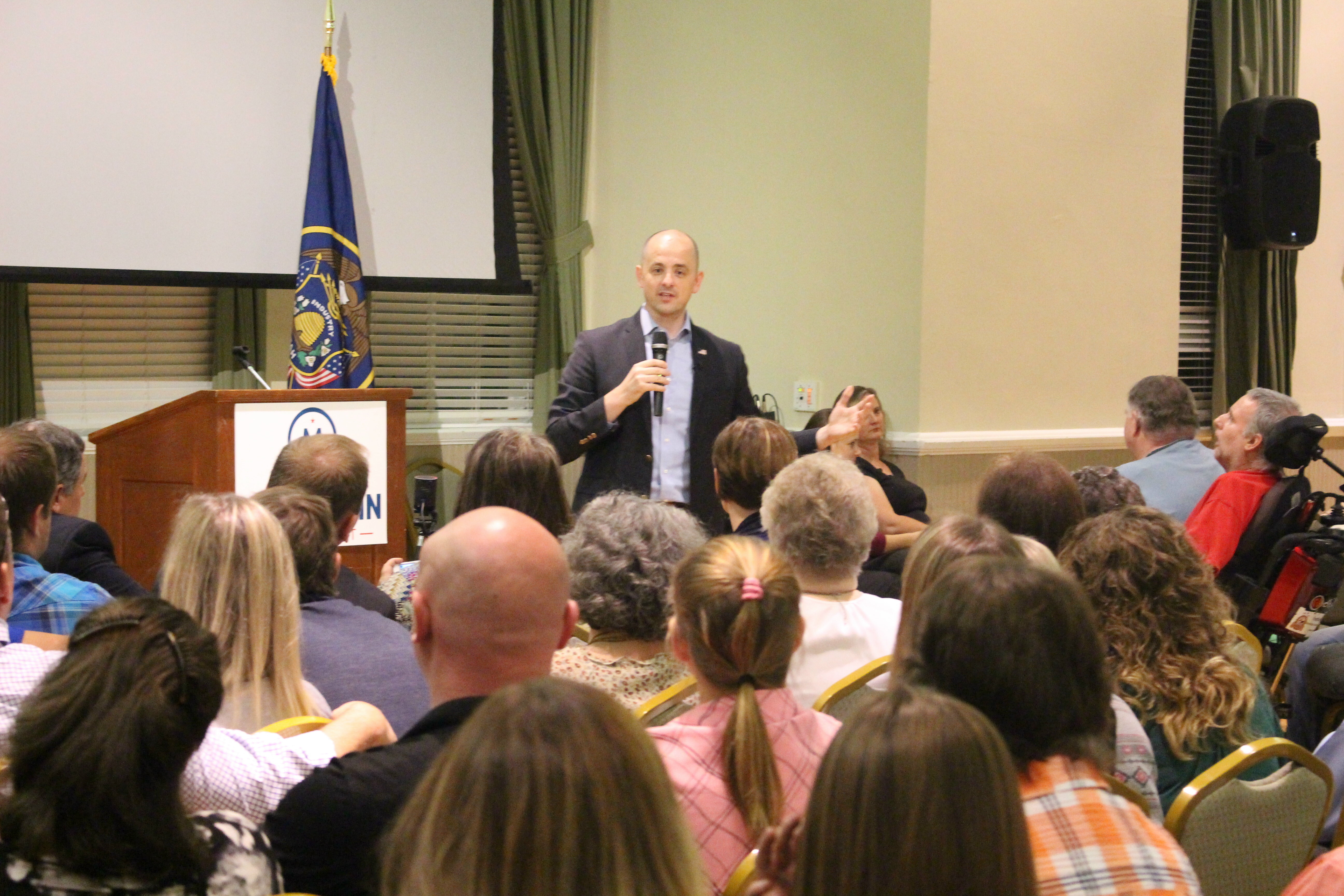 "Independent presidential candidate Evan McMullin stopped in St. George for a town hall meeting on the top floor of the Dixie Academy building that become packed with prospective voters. McMullin touts himself as the one true conservative in the race and is offering his candidacy as a ""principled"" alternative to Donald Trump, St. George, Utah, Oct. 15, 2016 