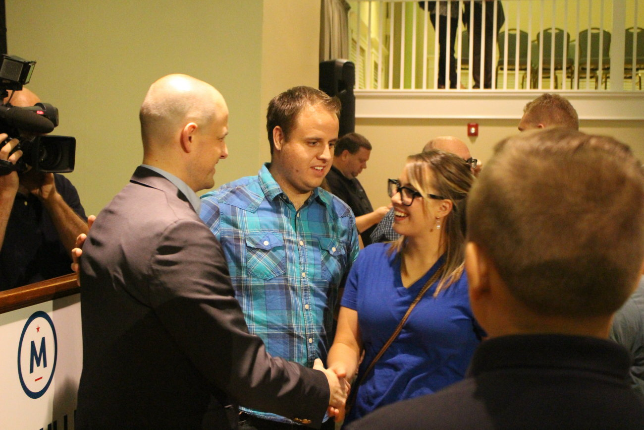 """Independent presidential candidate Evan McMullin stopped in St. George for a town hall meeting on the top floor of the Dixie Academy building that become packed with prospective voters. McMullin touts himself as the one true conservative in the race and is offering his candidacy as a """"principled"""" alternative to Donald Trump, St. George, Utah, Oct. 15, 2016 