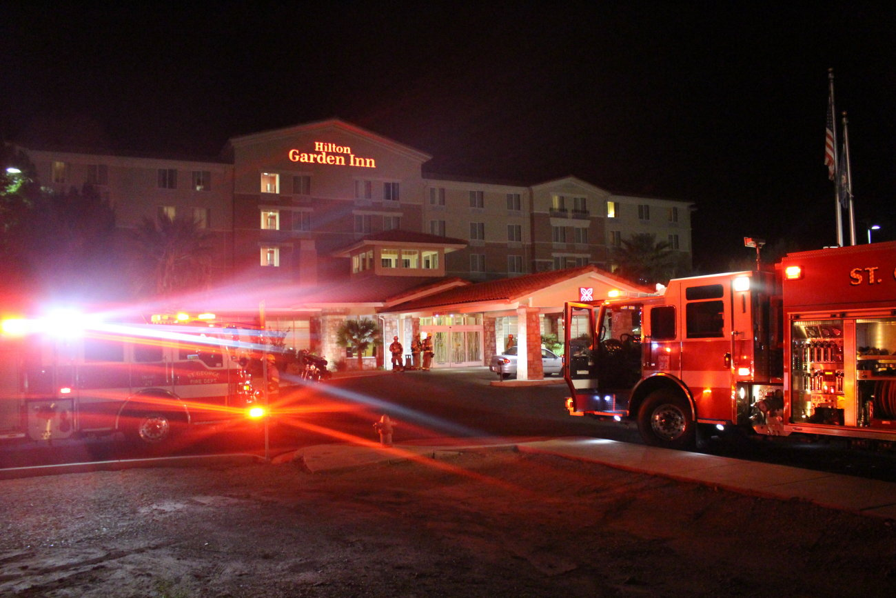 St. George firefighters responded to the call of a possible fire at the Hilton Garden Inn based on the smell of smoke on the 4th floor. However, when firefighters arrived and searched the hotel, they were unable to find any signs of a fire beyond what could have been the faint odor of burnt food, St. George, Utah, Oct. 18, 2016 | Photo Mori Kessler, St. George News