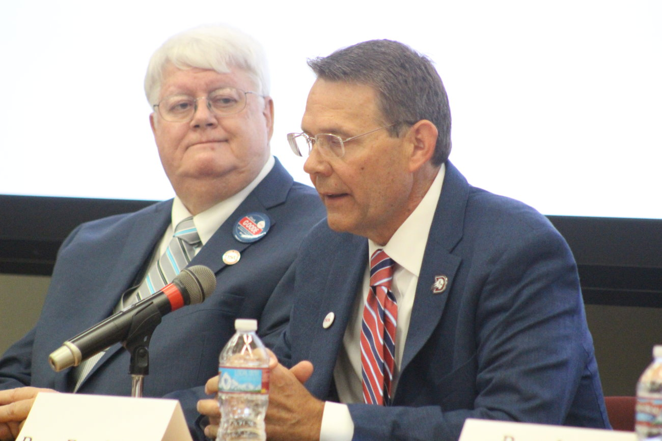 L-R: Democratic challenger Chuck Goode and Republican incumbent Rep. Brad Last and other southwest Utah legislative candidates discussed issues facing the state and Washington County at a forum hosted at Dixie State University, St. George, Utah, Oct. 5, 2016 | Photo by Mori Kessler, St. George News