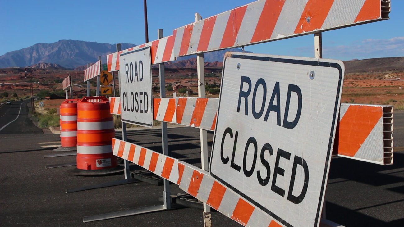 Telegrpah Street in Washington City, temporarily blocked due to road safety concerns. Proposition 1, a ballot initiate that proposes a quarter-cent sales tax increase, would provide additional funding toward local road infrastructure and public transit in Washington County and its municipalities. Civic officials are in favor of the measure, while some residents do not wish to see a new tax of any sort pass, Washington City, Utah, Sept. 28, 2016 | Photo by Mori Kessler, St. George News