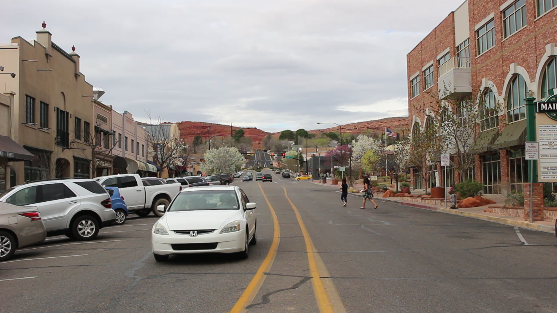 Main Street, downtown St. George. Proposition 1, a ballot initiate that proposes a quarter-cent sales tax increase, would provide additional funding toward local road infrastructure and public transit in Washington County and its municipalities. Civic officials are in favor of the measure, while some residents do not wish to see a new tax of any sort pass, St. George, Utah, March 5, 2016 | Photo by Mori Kessler, St. George News