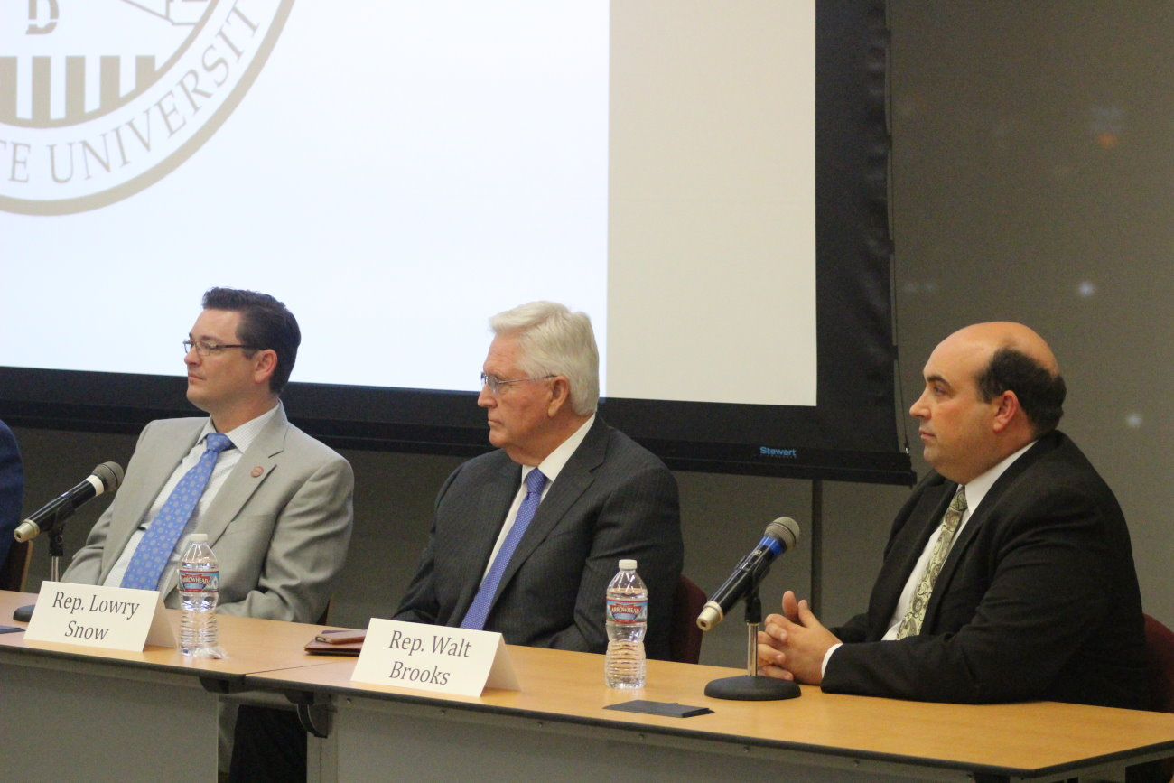 L-R: Republican incumbents Reps, Jon Stanard, Lowry Snow and Walt Brooks were also in attendence at the candidate forum hosted hosted at the Institute of Politics and Public Affairs at Dixie State University. Each candidate is running unapposed for his perspective office, St. George, Utah, Oct. 5, 2016 | Photo by Mori Kessler, St. George News