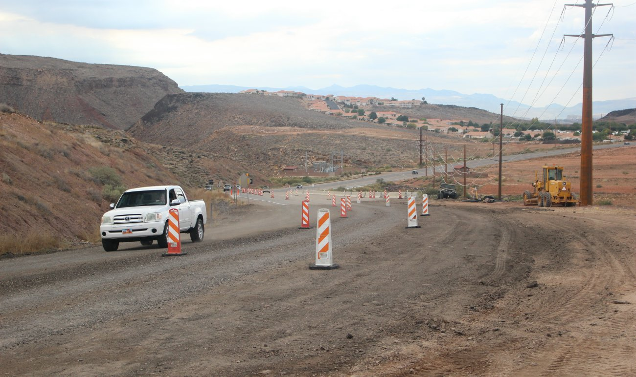 Telegraph Street between Washington and Highland parkways reopened after a month-long closure caused by a 6-inch drop in the roadway that is connected to a slow-moving slide. Repair work on Telegraph Street is expected to conclude in early 2017, Washington City, Utah, 2016 | Photo by Mori Kessler, St. George News
