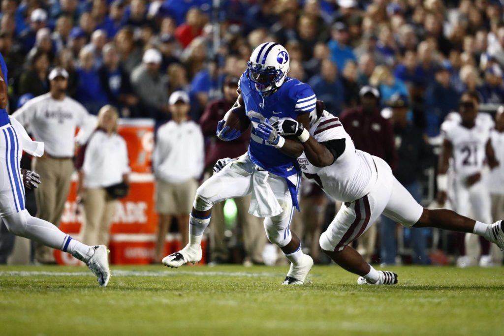 Jamaal Williams (21) became the Cougars all-time leading rusher Friday night, BYU vs. Mississippi State, Provo, Utah, Oct. 15, 2016 | Photo by BYU Photo
