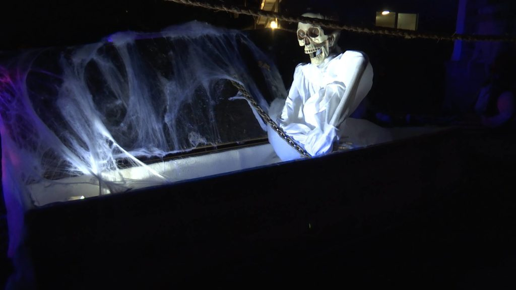 Screenshot: A skeleton bursts from a coffin at the home of Todd Wood, Santa Clara, Utah, Oct. 27, 2016 | Screenshot from video by Austin Peck, St. George News