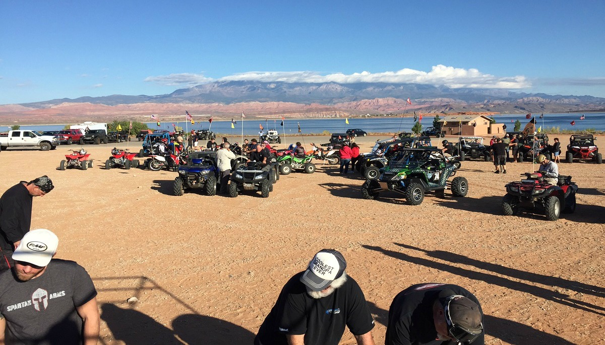 Participants set out to complete the eigth annual Poker Run at Sand Hollow State Park Saturday, Hurricane, Utah, Oct. 29, 2016 | Photo courtesy of Stephen Studebaker, St. George News