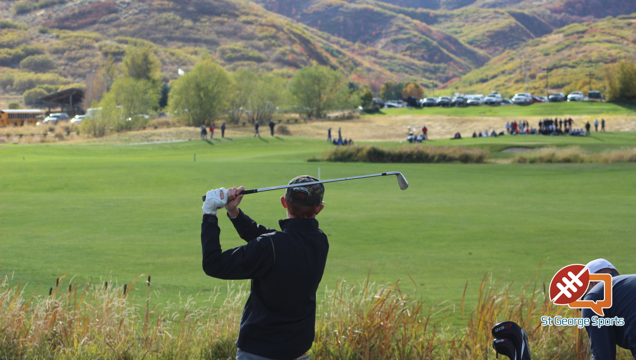 Pine View's Noah Schone tees off during the sudden death playoff hole at the 3A State Golf Tournament at Soldier Hollow Golf Course, Midway, Utah, Oct. 6, 2016 | Photo by AJ Griffin, St. George News