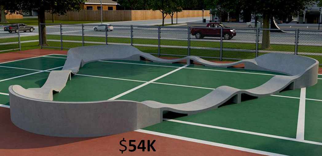 A mock-up design of a possible skate park, encompassing the area of a tennis court, location and date not specified | Photo courtesy of Bryan King, St. George News