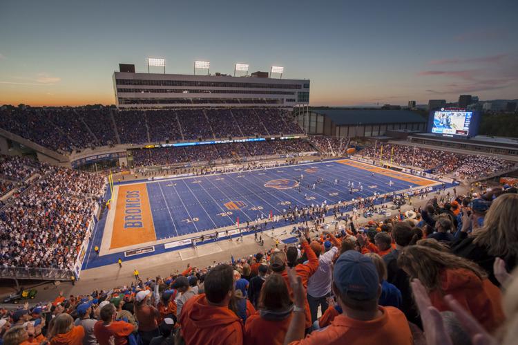 "Boise State's unforgettable ""Smurf Turf"" in Albertsons Stadium. | Photo by Wankun Sirichotiyakul"