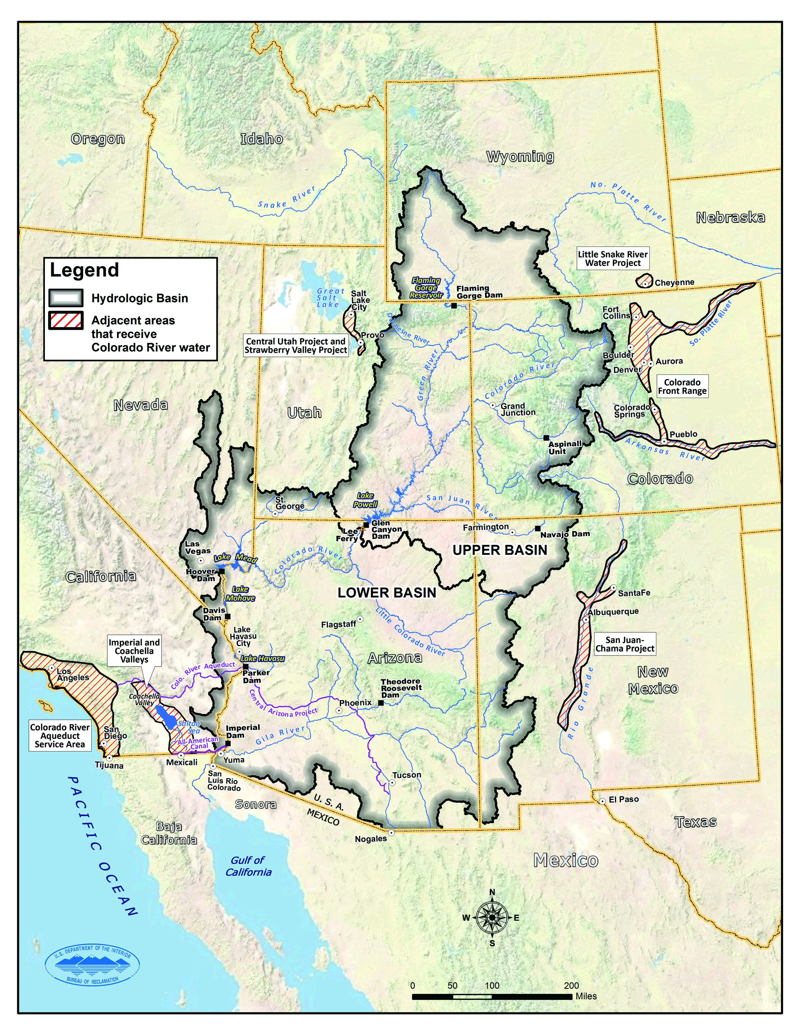 Map of upper and lower Colorado River basins | Image courtesy of Bureau of Reclamation, St. George News