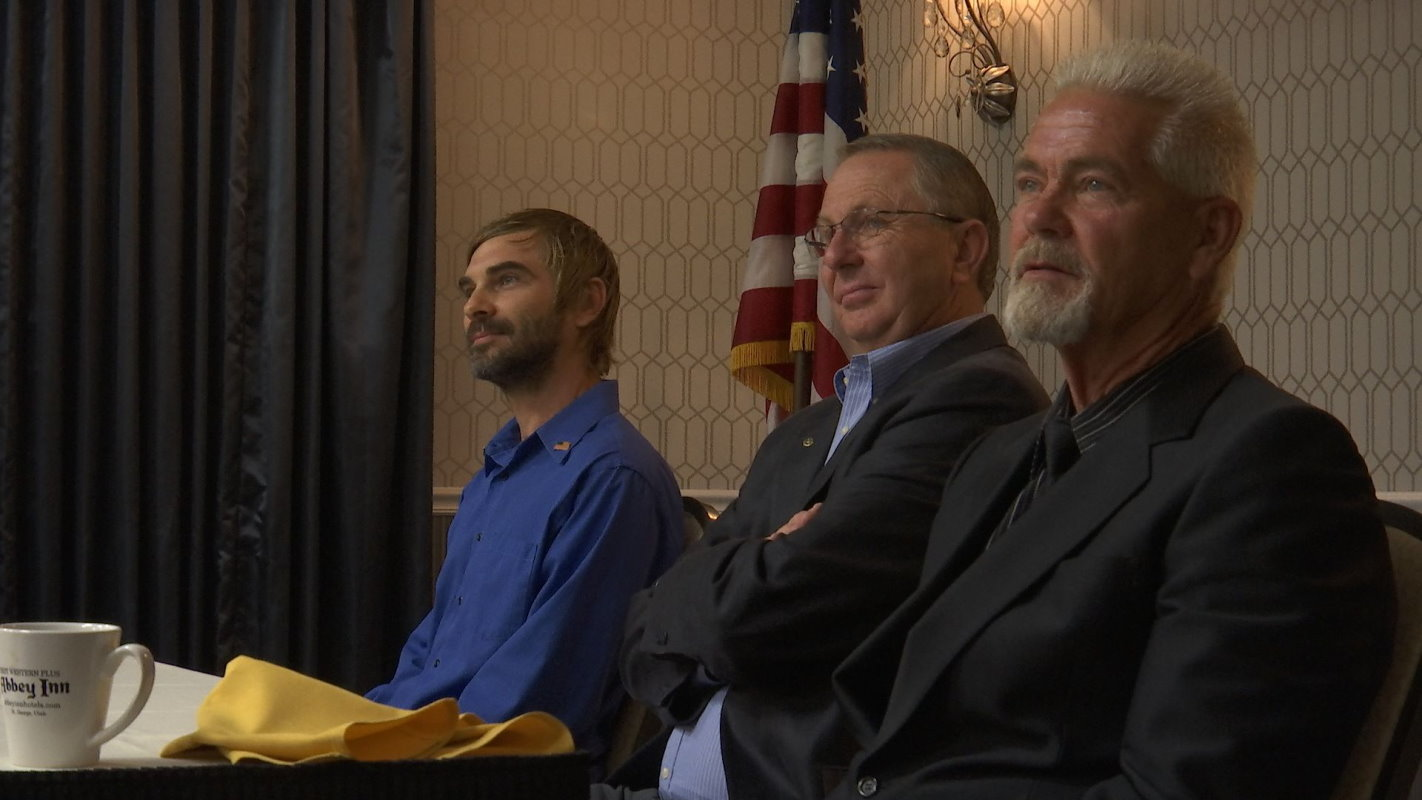 L-R: Washington County Commission candidates Josh Warburton, Dean Cox and Greg Aldred at a forum hosted by the Red Rock Rotary Club, St. George, Utah, Oct. 12, 2016 | Photo by Sheldon Demke, St. George News