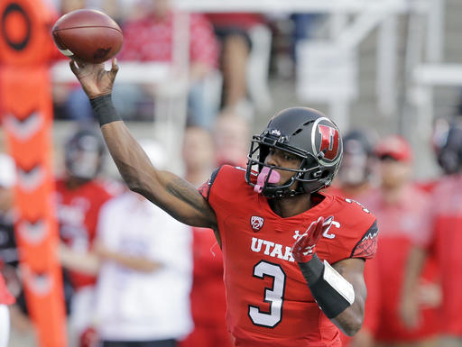Utah quarterback Troy Williams (3) passes the ball in the first half during an NCAA college football game against Washington, Saturday, Oct. 29, 2016, in Salt Lake City. (AP Photo/Rick Bowmer)