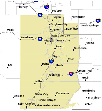 Shaded areas denote regions subject to the hazardous weather outlook. Map generated Oct. 23, 2016 at 6:03 p.m. MDT   Image courtesy of National Weather Service, St. George News