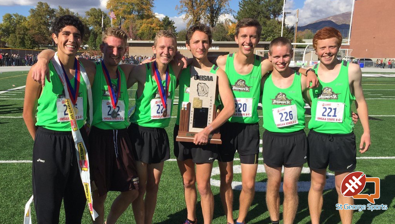Desert Hills boys cross country team, the 2016 state 3A champions. | Photo courtesy @Thunder_TF