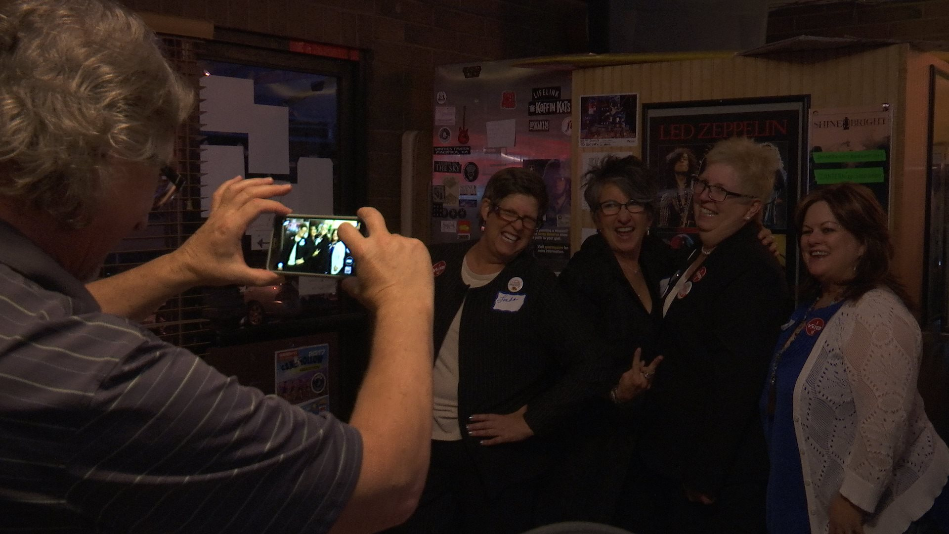 L-R: Linda Stay, Elise West and Democratic candidate for State Senate District 29, Dorothy Engelman, pose for a photo at a party for Washington County Democrats, St. George, Utah, Nov. 8, 2016 | Photo by Shelden Demke, St. George News