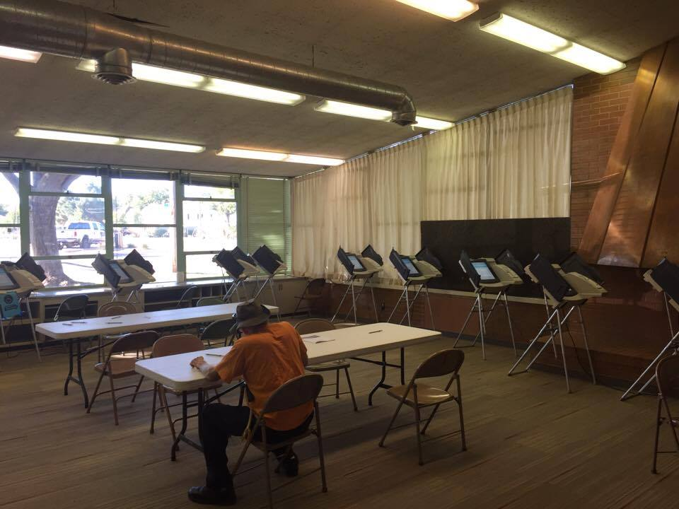 The last person voting at the Hurricane Community Center Tuesday before 9:40 a.m. Poll workers close voting at that location when paper ballots ran out and electronic voting machines were not functioning. Hurricane, Utah, Nov. 8, 2016   Photo by ron Chaffin, St. George News