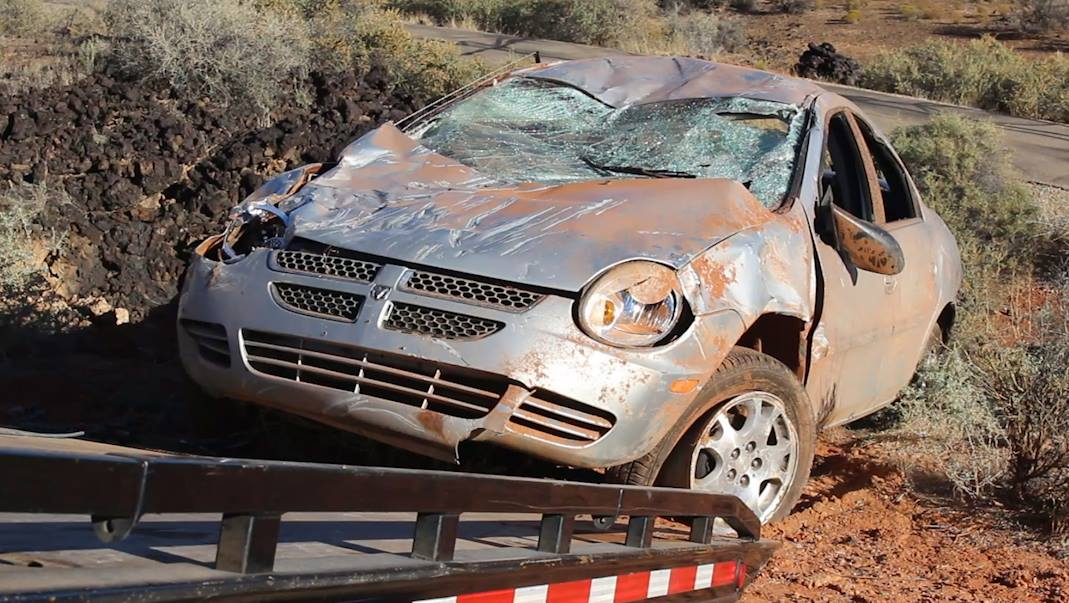 Authorities are investigating after a hiker discovered an abandoned vehicle that had crashed and rolled off Pioneer Parkway sometime Wednesday night, Santa Clara, Utah, Nov. 17, 2016   Photo by Mike Cole, St. George News