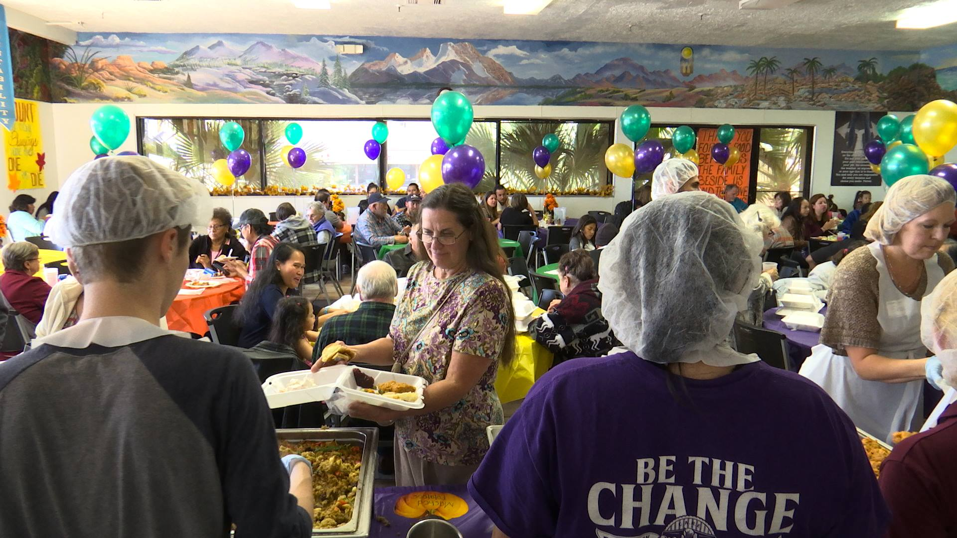 Guests are served at Red Rock Canyon School's annual community Thanksgiving dinner, St. George, Utah, Nov. 24, 2016 | Photo by Sheldon Demke, St. George News