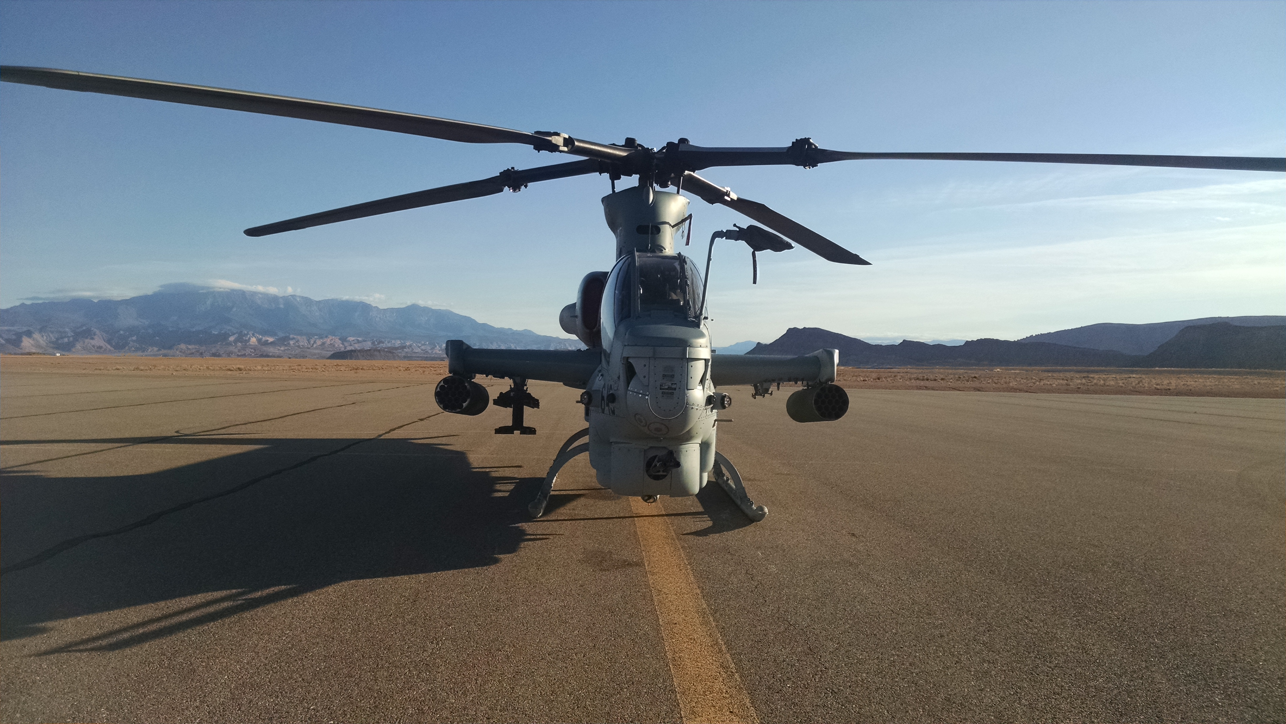 Military helicopter at St. George Regional Airport, Utah, date not specified | Photo courtesy of Brad Kitchen, St. George News