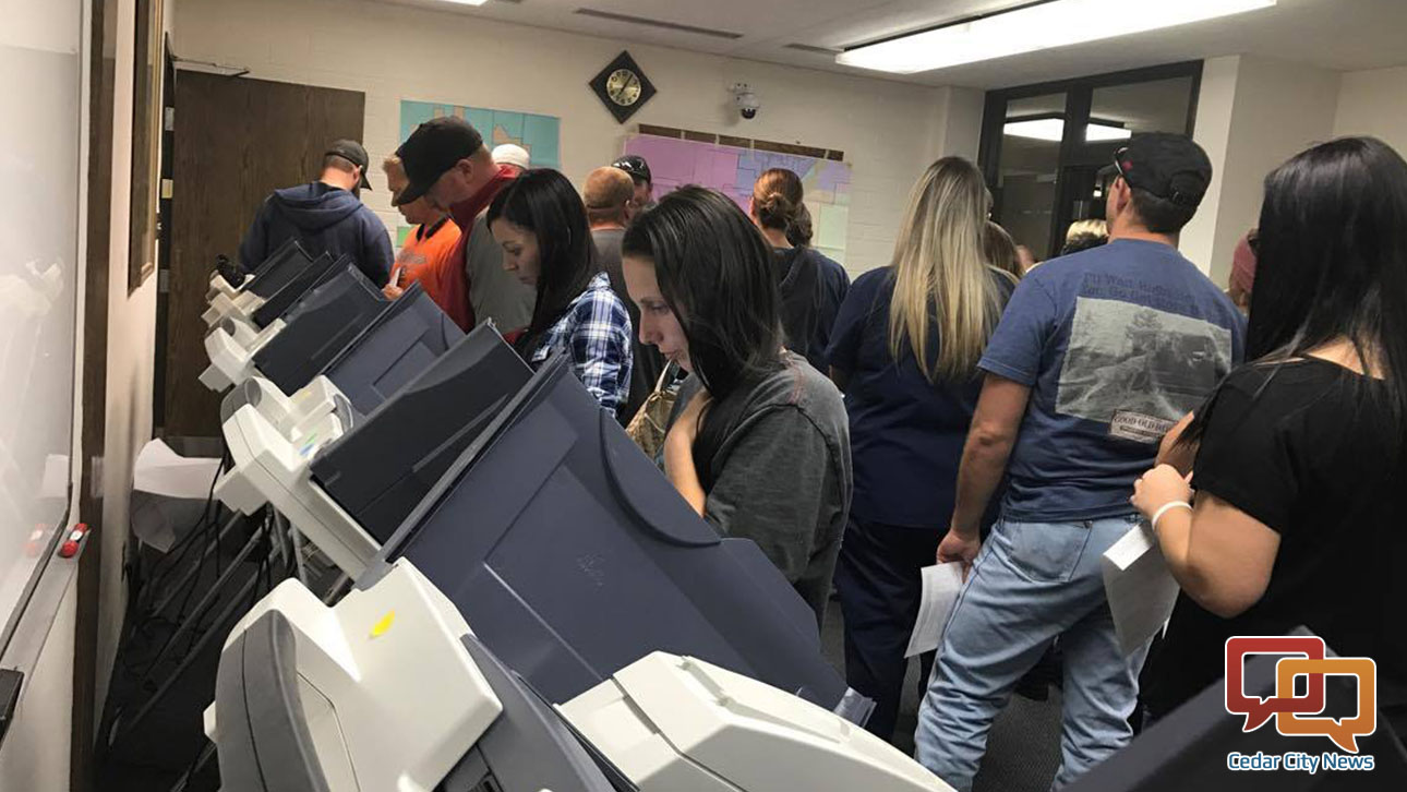 Voters cast their ballots Tuesday after waiting for some time in long lines. Parowan City, Utah, Nov. 8, 2016 | Photo by Tracie Sullivan, St. George / Cedar City News