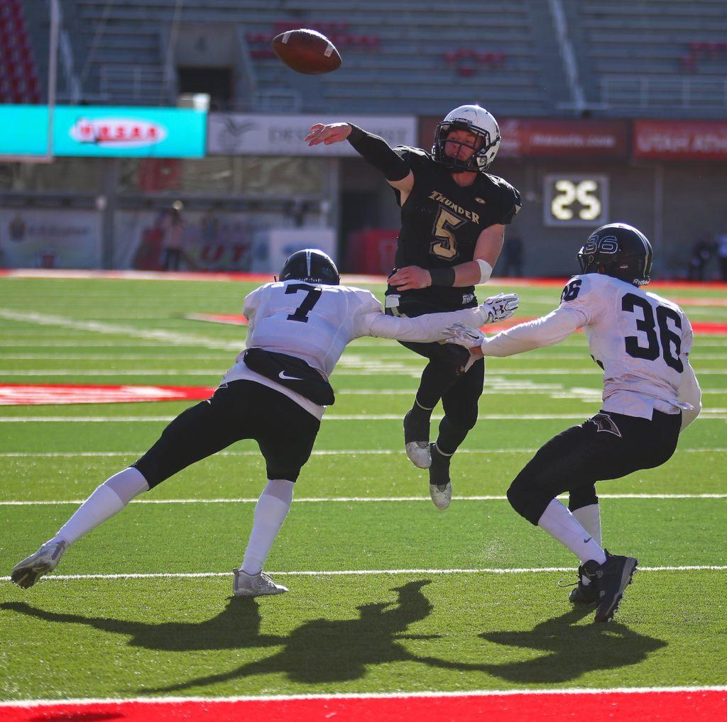 Desert Hills' Quinn Kiser (5) makes an improvised jump pass for the game winning touchdown, Desert Hills vs. Pine View, 3AA State Championship, Football, Salt Lake City, Utah, Nov. 18, 2016,   Photo by Robert Hoppie, ASPpix.com, St. George News