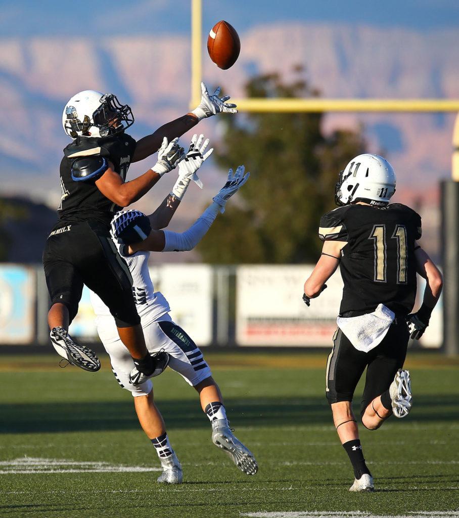 Desert Hills' Giovanni Vaifanua (14), Desert Hills vs. Ridgeline, Football, St. George, Utah, Nov. 4, 2016, | Photo by Robert Hoppie, ASPpix.com, St. George News