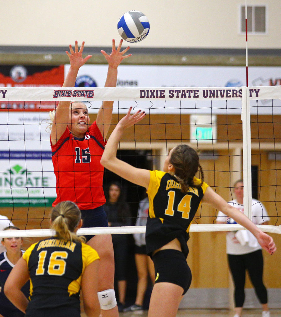Dixie State's Amanda Schultz (15), Dixie State University vs. Dominican University, Volleyball, St. George, Utah, Nov. 5, 2016, | Photo by Robert Hoppie, ASPpix.com, St. George News