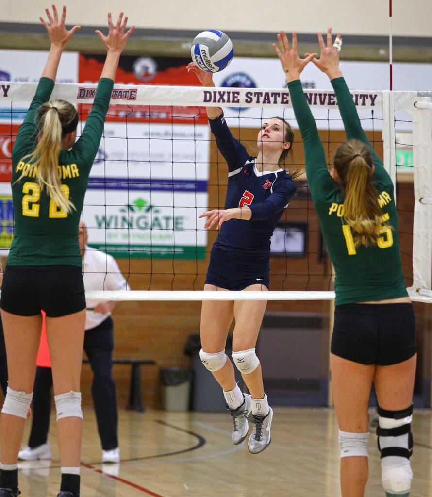 Dixie State's Delayne Daniel (2), Dixie State University vs. Point Loma University, Volleyball,St. George, Utah, Nov. 19, 2016,   Photo by Robert Hoppie, ASPpix.com, St. George News