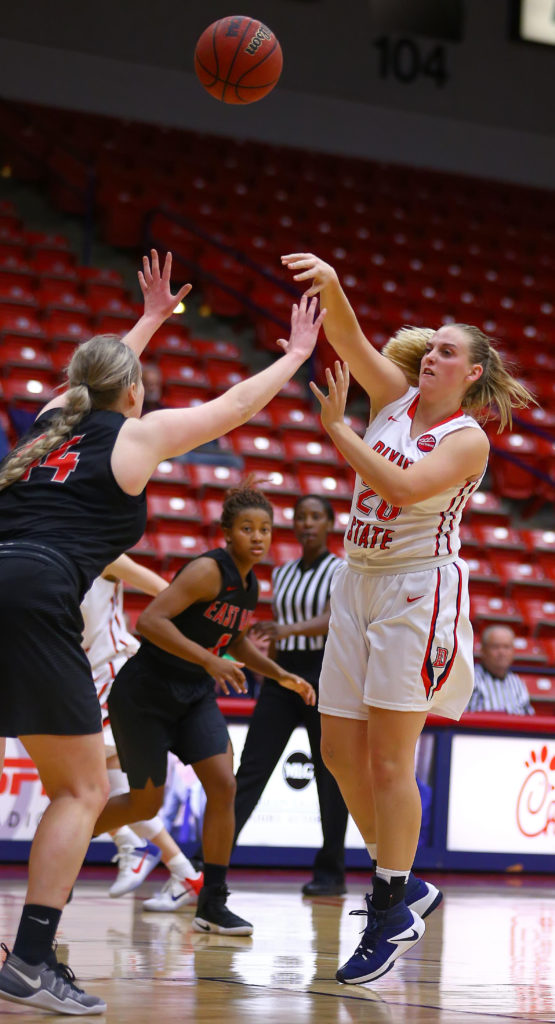 Dixie State's Ashlee Burge (20), Dixie State University vs. Cal State East Bay University, Women's Basketball, St. George, Utah, Nov. 21, 2016, | Photo by Robert Hoppie, ASPpix.com, St. George News
