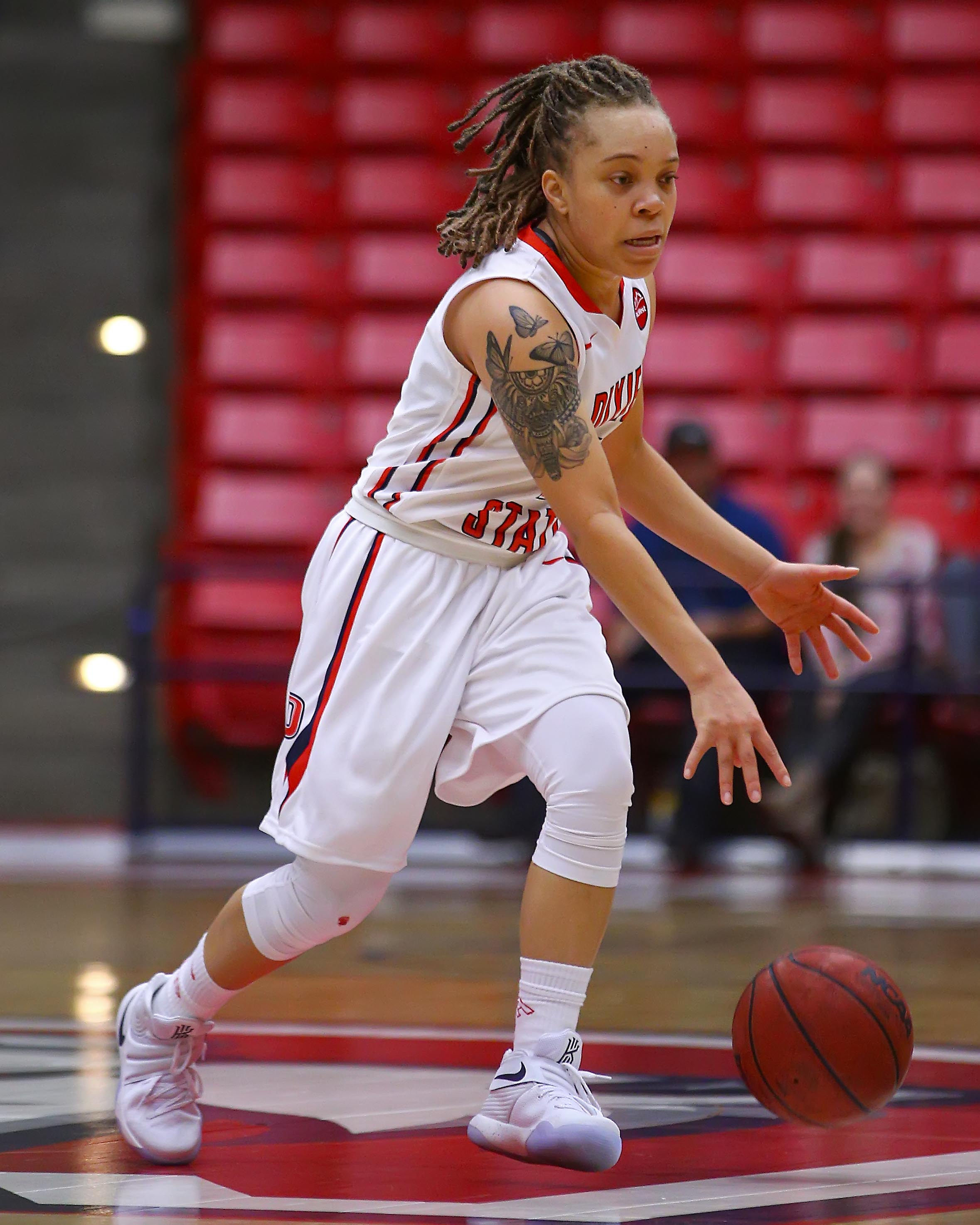 Dixie State's Tramina Jordan (1), file photo by Robert Hoppie, ASPpix.com, St. George News