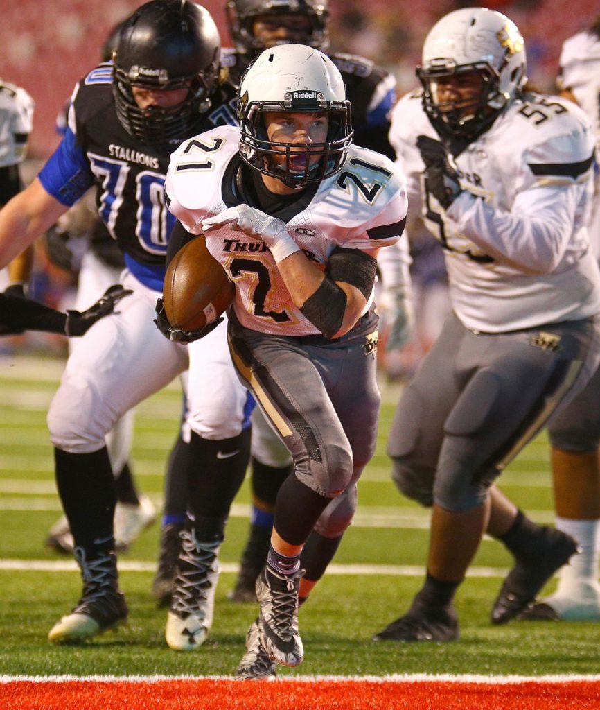 Desert Hills' Brock Parry (21) scores a first half touchdown, Desert Hills vs. Stansbury, 3AA Football Semifinals, Salt Lake City, Utah, Nov. 10, 2016, | Photo by Robert Hoppie, ASPpix.com, St. George News