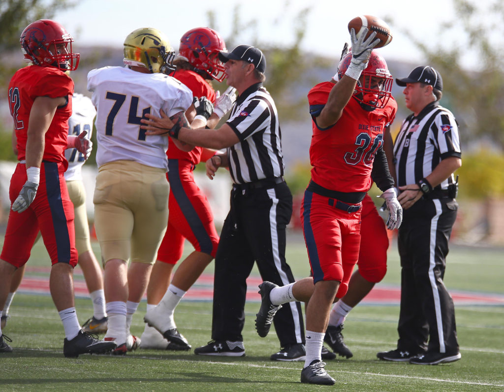 Dixie State's Noe Perez (30) recovers a fumble, Dixie State University vs. Fort Lewis University, St. George, Utah, Nov. 12, 2016, | Photo by Robert Hoppie, ASPpix.com, St. George News