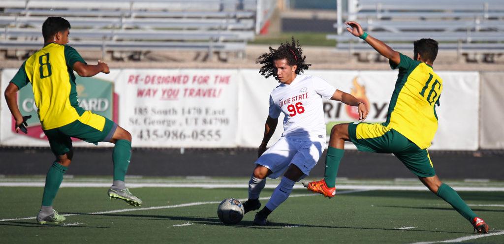 Dixie State's Gabby Medina (96), Dixie State University vs. Concordia-Irvine University, Men's Soccer, St. George, Utah, Nov. 3, 2016, | Photo by Robert Hoppie, ASPpix.com, St. George News