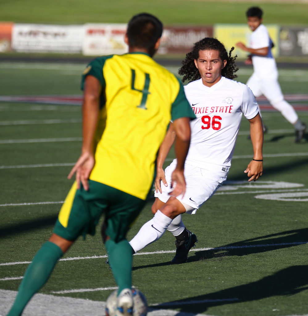 Dixie State's Gabby Medina (96), Dixie State University vs. Concordia-Irvine University, Men's Soccer, St. George, Utah, Nov. 3, 2016, | Photo by Robert Hoppie, ASPpix.com, St. George News